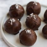 Quick and easy Cookie Dough Protein Truffles coated in a thin layer of dark chocolate – a perfect vegan and gluten-free post-workout or pre-dinner snack. | Naturally Sweet Kitchen | Energy Balls | Protein Snacks | Vegan and Gluten Free Snacks