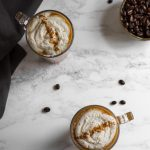 This homemade pumpkin spice latte recipe will make you wonder why you ever went to Starbucks! Completely vegan, 100% all-natural pumpkin flavour, insanely delicious. Get this recipe and more refined sugar free desserts at naturallysweetkitchen.com #pumpkinspicelatte #vegan #glutenfree #naturallysweetkitchen