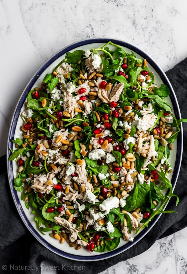 Warm Pomegranate Chicken Salad with Grains & Feta