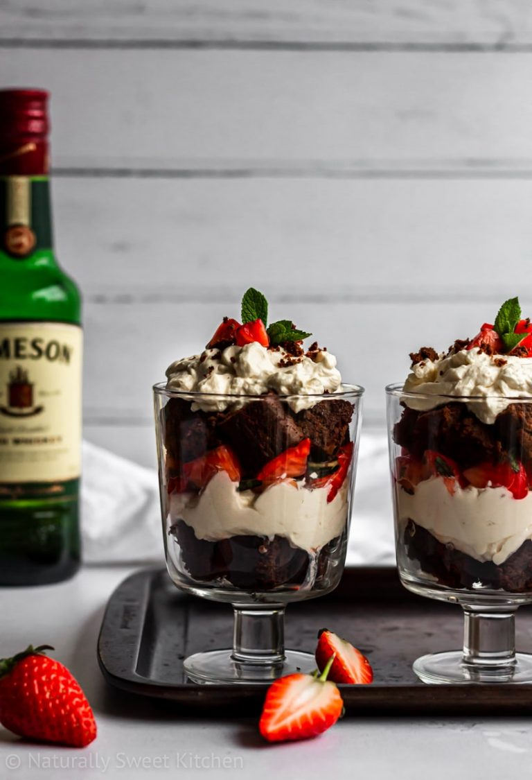 Brownie Trifle with Whiskey Strawberries
