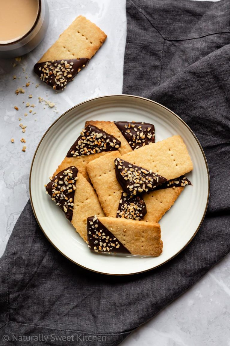 Chocolate Dipped Shortbread with Hazelnuts