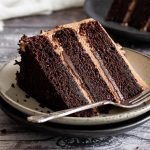 a slice of ultra moist triple chocolate cake layered with chocolate buttercream and ganache on a serving plate with a silver cake fork next to it