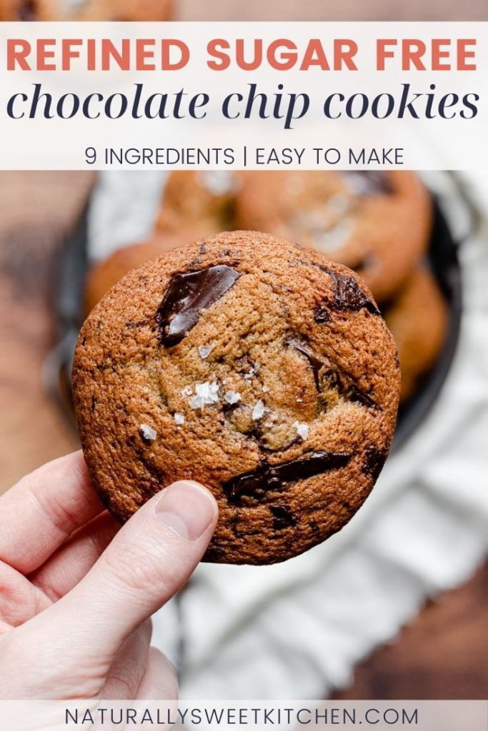These are the BEST refined sugar free Chocolate Chip Cookies you will ever bake! Perfectly chewy with crisp edges, sweetly scented with vanilla, and packed full of gooey dark chocolate. You'll love how quick this easy cookie recipe bakes up - you won't be able to stop at a single batch!